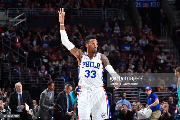 Robert Covington of the Philadelphia 76ers reacts during the game against the Charlotte Hornets on January 13 2017 at Wells Fargo Center in...