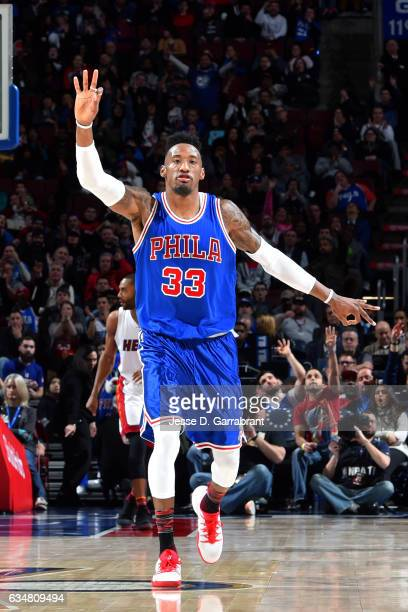 Robert Covington of the Philadelphia 76ers reacts during the game against the Miami Heat on February 11 2017 at Wells Fargo Center in Philadelphia...