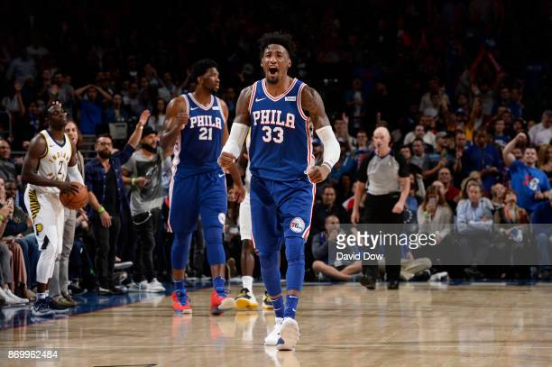 Robert Covington of the Philadelphia 76ers reacts during the game against the Indiana Pacers on November 3 2017 at the Wells Fargo Center in...