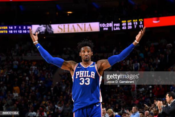 Robert Covington of the Philadelphia 76ers reacts during the game against the Los Angeles Lakers on December 7 2017 at Wells Fargo Center in...