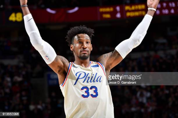 Robert Covington of the Philadelphia 76ers reacts during the game against the Miami Heat on February 2 2018 in Philadelphia Pennsylvania NOTE TO USER...