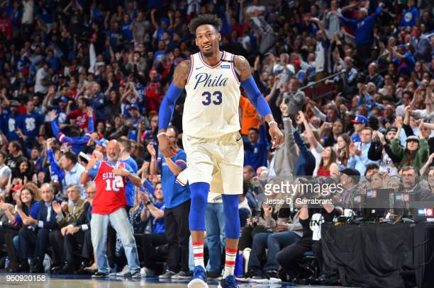 Robert Covington of the Philadelphia 76ers reacts during the game against the Miami Heat in Game Five of Round One of the 2018 NBA Playoffs on April...
