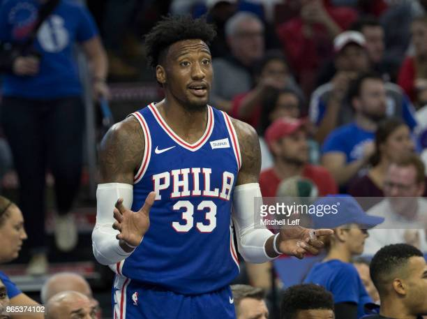 Robert Covington of the Philadelphia 76ers reacts from the bench against the Boston Celtics at the Wells Fargo Center on October 20 2017 in...