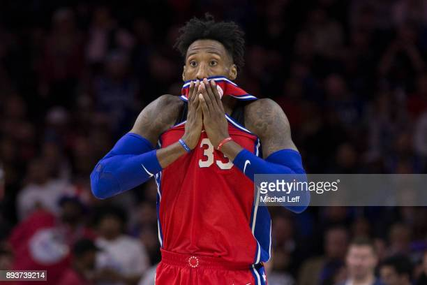 Robert Covington of the Philadelphia 76ers reacts in the first overtime against the Oklahoma City Thunder at the Wells Fargo Center on December 15...