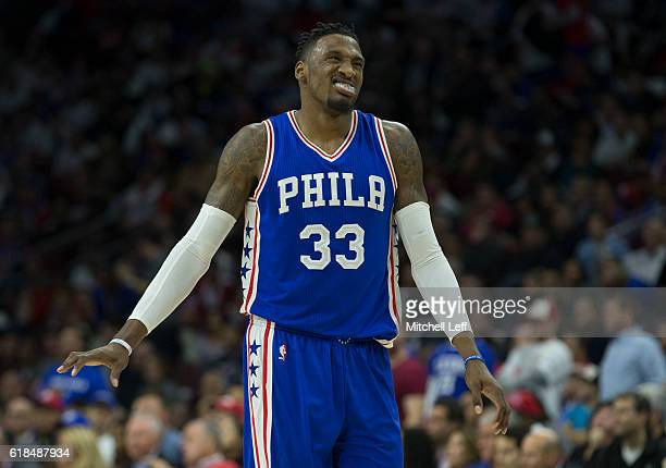Robert Covington of the Philadelphia 76ers reacts in the fourth quarter against the Oklahoma City Thunder at Wells Fargo Center on October 26 2016 in...