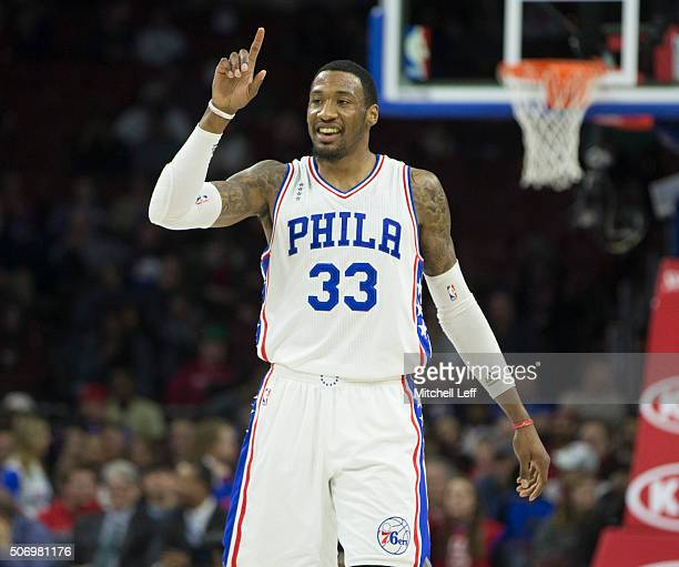 Robert Covington of the Philadelphia 76ers reacts in the game against the Phoenix Suns on January 26 2016 at the Wells Fargo Center in Philadelphia...