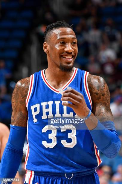 Robert Covington of the Philadelphia 76ers reacts to a play against the Orlando Magic during the game on March 20 2017 at Amway Center in Orlando...