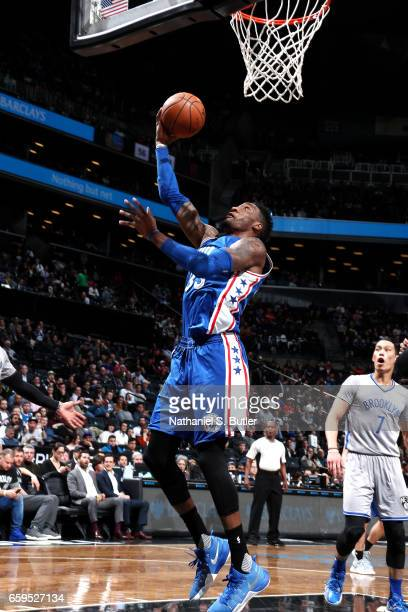 Robert Covington of the Philadelphia 76ers shoots a lay up during the game against the Brooklyn Nets on March 28 2017 at Barclays Center in Brooklyn...