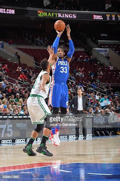 Robert Covington of the Philadelphia 76ers shoots the ball against the Boston Celtics at Wells Fargo Center on January 24 2015 in Philadelphia...