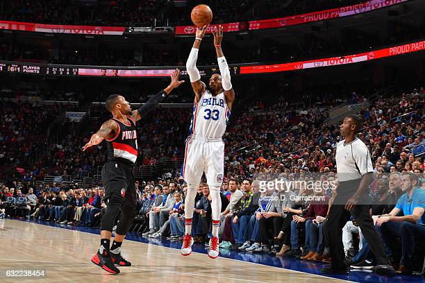 Robert Covington of the Philadelphia 76ers shoots the ball during a game against the Portland Trail Blazers on January 20 2017 at the Wells Fargo...