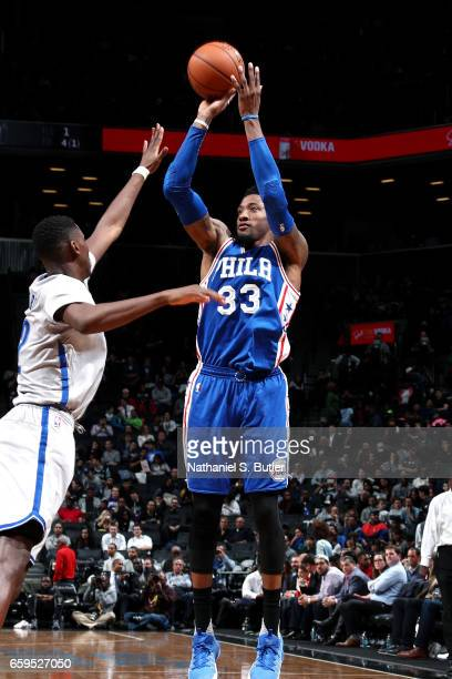 Robert Covington of the Philadelphia 76ers shoots the ball during the game against the Brooklyn Nets on March 28 2017 at Barclays Center in Brooklyn...