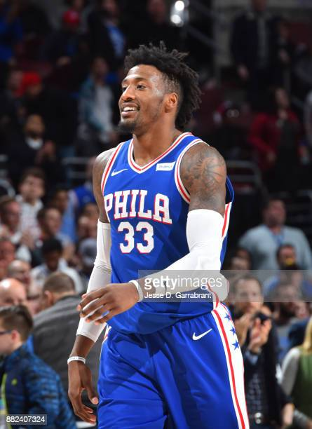 Robert Covington of the Philadelphia 76ers smiles after the win against the Washington Wizards at Wells Fargo Center on November 29 2017 in...