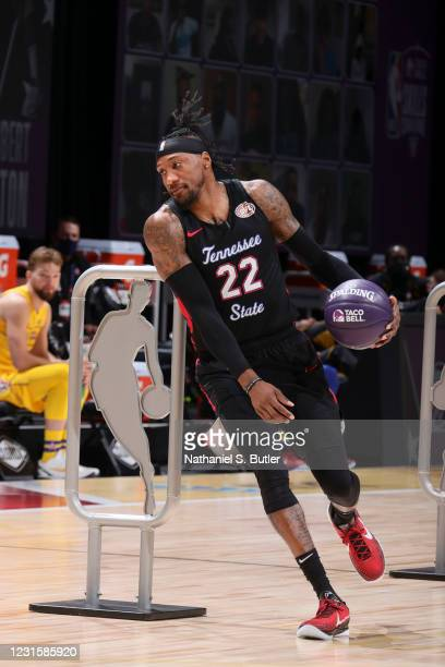 Robert Covington of the Portland Trail Blazers dribbles during the Taco Bell Skills Challenge as part of 2021 NBA All Star Weekend on March 7, 2021...