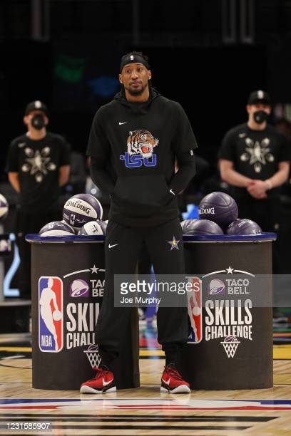 Robert Covington of the Portland Trail Blazers looks on during the Taco Bell Skills Challenge as part of 2021 NBA All Star Weekend on March 7, 2021...
