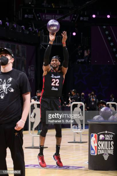 Robert Covington of the Portland Trail Blazers shoots the ball during the Taco Bell Skills Challenge as part of 2021 NBA All Star Weekend on March 7,...
