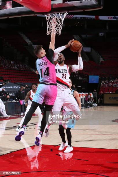 Robert Covington of the Portland Trail Blazers shoots the ball during the game against the Miami Heat on April 11, 2021 at the Moda Center Arena in...
