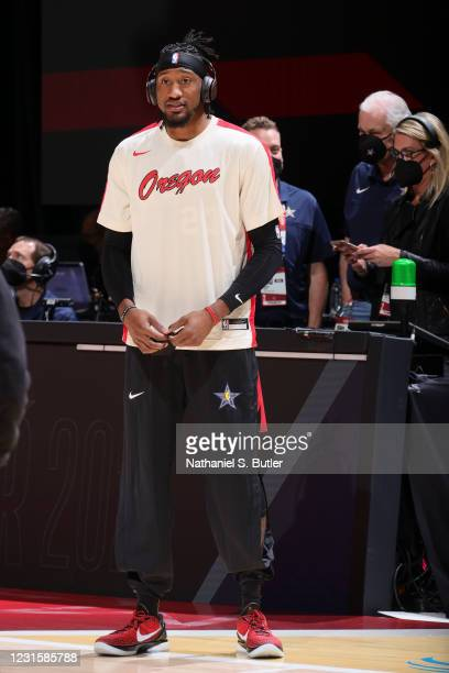 Robert Covington of the Portland Trail Blazers talks to the media before the Taco Bell Skills Challenge as part of 2021 NBA All Star Weekend on March...