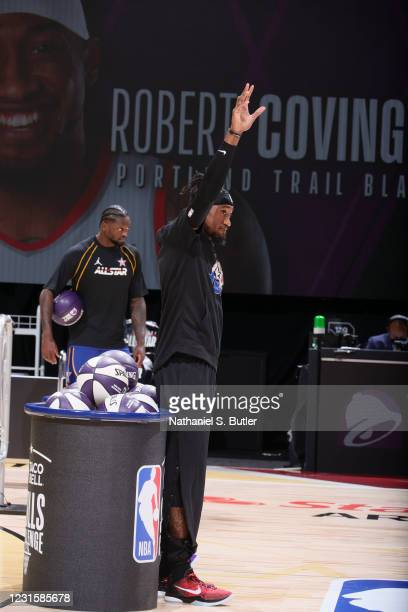 Robert Covington of the Portland Trail Blazers waves during the Taco Bell Skills Challenge as part of 2021 NBA All Star Weekend on March 7, 2021 at...