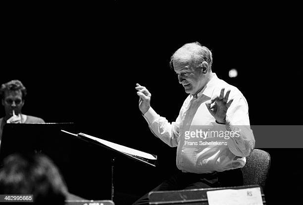 Robert Craft , conducts at Tully Hall on 28th April 1990 in New York City, USA.