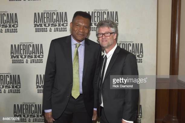 Robert Cray and Americana Music Association Executive Director Jed Hilly backstage at the 2017 Americana Music Association Honors Awards on September...
