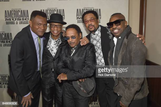 Robert Cray and Steve Jordan pose with Hi Rhythm during the 2017 Americana Music Association Honors Awards on September 13 2017 in Nashville Tennessee