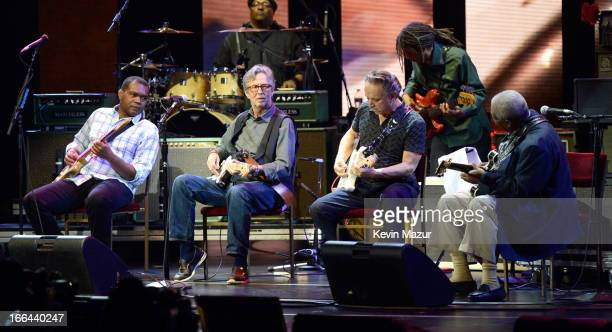 Robert Cray Eric Clapton Jimmie Vaughan Gary Clark Jr and BB King perform on stage during the 2013 Crossroads Guitar Festival at Madison Square...