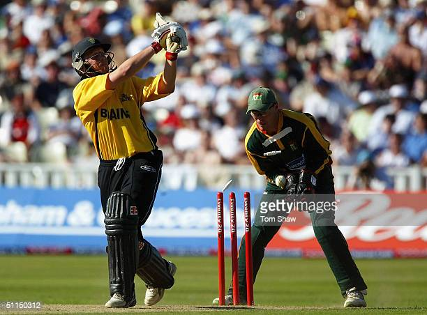 Robert Croft of Glamorgan is bowled out during the Glamorgan v Leicestershire Twenty20 cup Semifinal match at Edgbaston Cricket Ground on August 7...