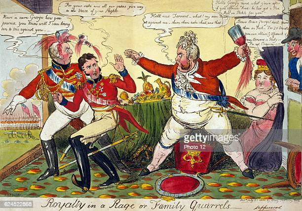 Robert Cruikshank British school Royalty in a Rage or Family Quarrels George IV angry with his brothers Frederick and William unwilling to support...