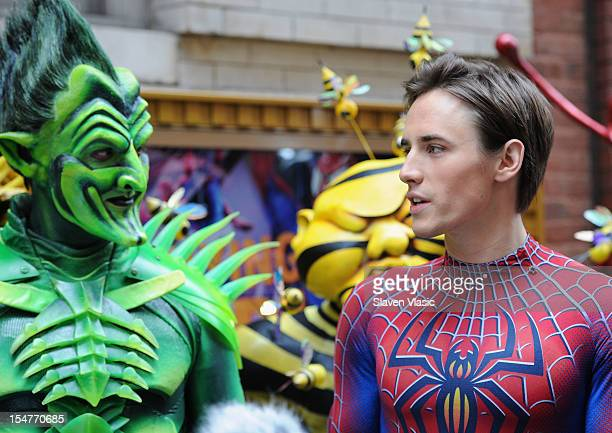 Robert Cuccioli as Green Goblin and Reeve Carney as SpiderMan from the Broadway's SPIDERMAN Turn Off The Dark attend Halloween Safety Press...