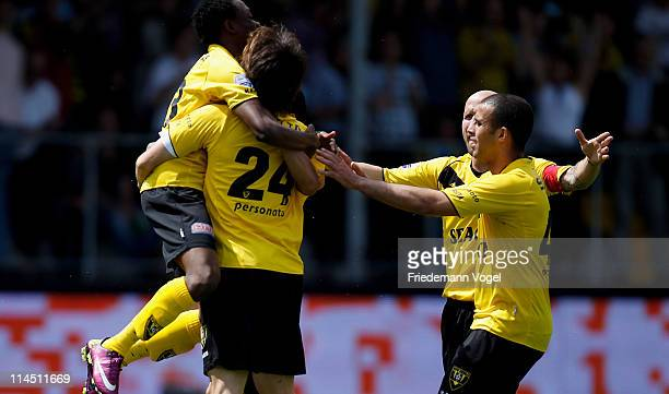 Robert Cullen of Venlo celebrates after scoring the first goal during the Dutch Eredivise Play Off match between VVV Venlo and FC Volendam at Seacon...