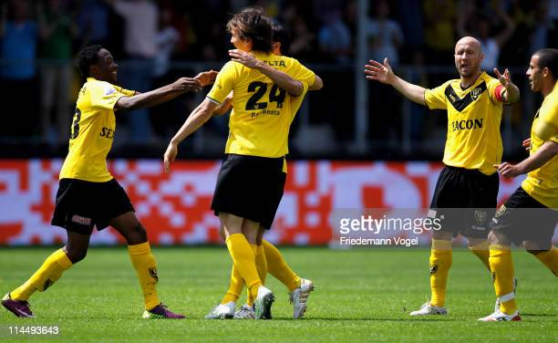 Robert Cullen of Venlo celebrates scoring the first goal during the Dutch Eredivise Play Off match between VVV Venlo and FC Volendam at Seacon...