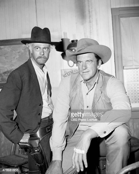 Robert Culp as Joe Costa and James Arness as Matt Dillon in the GUNSMOKE episode 'Hung High' Image dated October 1 1964