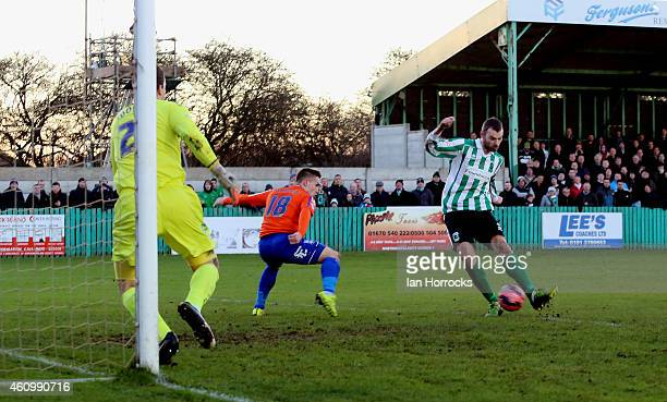 Robert Dale of Blyth Spartans scores the first goal during the FA Cup third round match between Blyth Spartans and Birmingham City at Croft Park on...