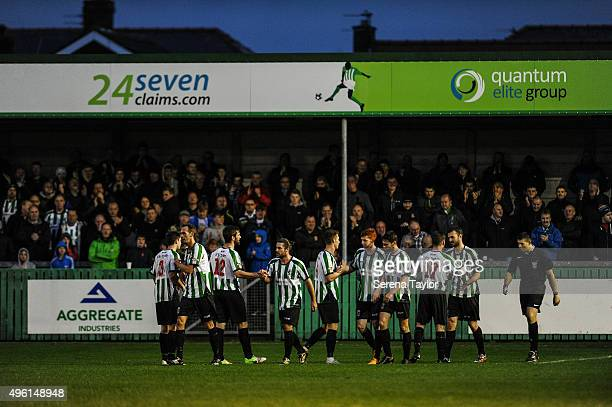 Robert Dale of of Blyth Spartans celebrates with teammates after scoring their second goal during The Northumberland Senior Cup match between Blyth...