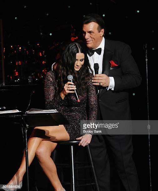 Robert Davi and his daughter Ariana Marie Davi performs Celebrate Sinatra's 100th Birthday With Robert Davi at Foxwoods Resort Casino on December 12...