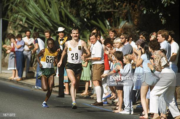 Robert De Castella of Australia on his way to winning the Gold Medal in the Men's Marathon event during the Commonwealth Games held in Brisbane...