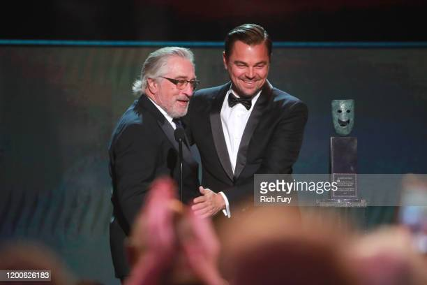 Robert De Niro accepts the Screen Actors Guild Life Achievement Award from Leonardo DiCaprio onstage during the 26th Annual Screen ActorsGuild...