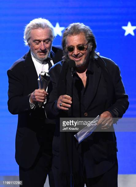 Robert De Niro and Al Pacino accept the Best Acting Ensemble award for 'The Irishman' onstage during the 25th Annual Critics' Choice Awards at Barker...