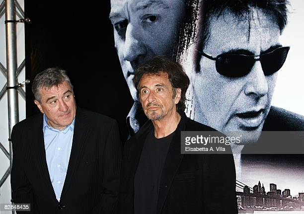 Robert De Niro and Al Pacino attend the 'Righteous Kill' premiere at the Warner Cinema Moderno on September 16 2008 in Rome Italy