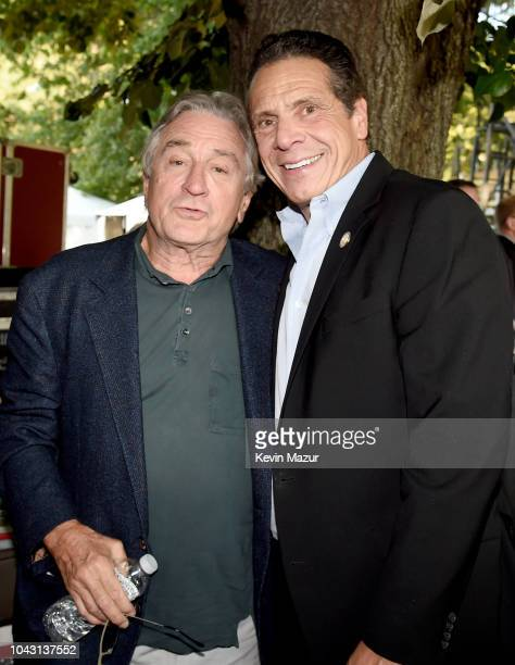 Robert De Niro and Andrew Cuomo pose backstage during the 2018 Global Citizen Festival Be The Generation in Central Park on September 29 2018 in New...