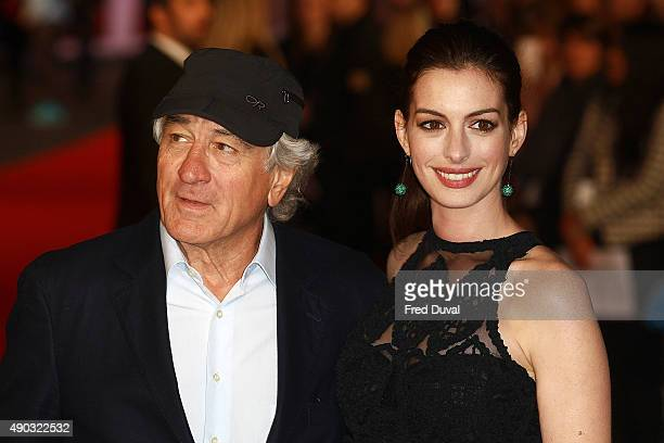 """Robert De Niro and Anne Hathaway attend """"The Intern"""" European Premiere at Vue West End on September 27, 2015 in London, England."""