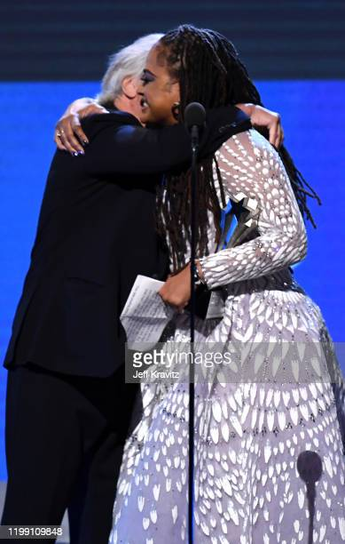 Robert De Niro and Ava DuVernay accept the Best Limited Series award for 'When They See Us' onstage during the 25th Annual Critics' Choice Awards at...