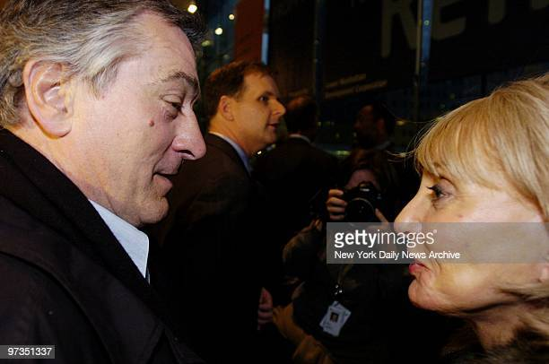 Robert De Niro and Barbara Walters get together at the World Financial Center's Winter Garden after the first meeting of board members of the...