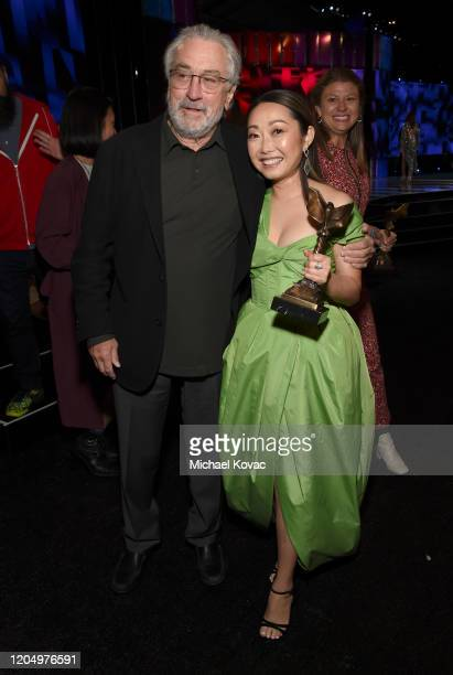 Robert De Niro and Best Feature award winner for 'The Farewell' Lulu Wang at the 2020 Film Independent Spirit Awards on February 08 2020 in Santa...