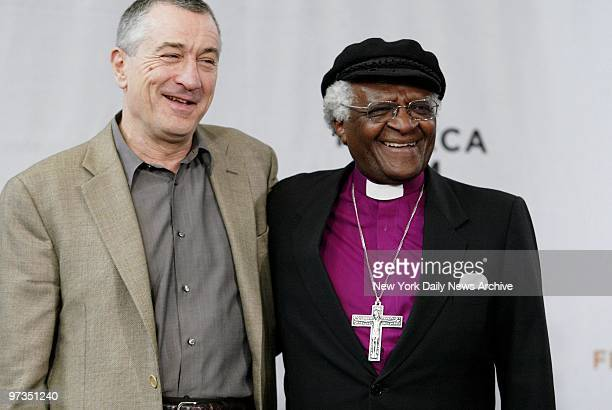 Robert De Niro and Bishop Desmond Tutu are on hand at American Express headquarters on Vesey St for a news conference kicking off the third annual...