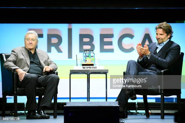 Robert De Niro and Bradley Cooper speak onstage for the Storytellers: Bradley Cooper & Robert DeNiro talk during 2018 Tribeca Film Festival at Spring...