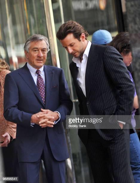 Robert De Niro and Bradley Cooper work on location for 'The Dark Fields' on May 6 2010 in Philadelphia Pennsylvania