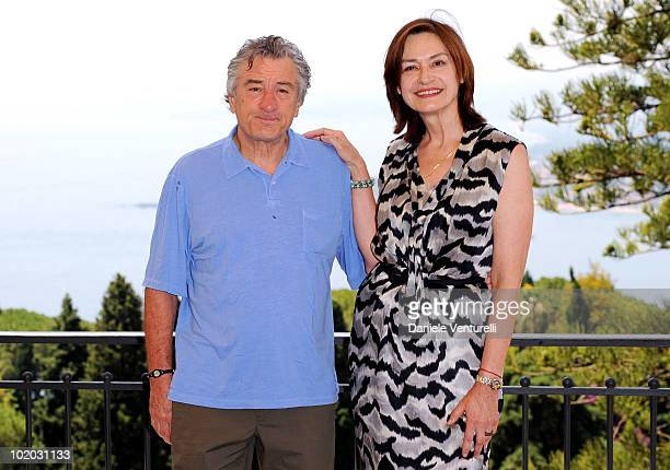 Robert De Niro and Deborah Young attend the Taormina Film Fest 2010 Photocall on June 13 2010 in Taormina Italy