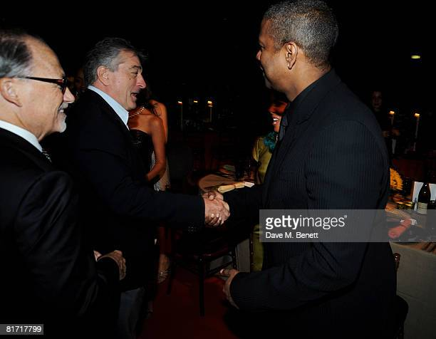 Robert de Niro and Denzel Washington attend the dinner in honour of Nelson Mandela celebrating his 90th birthday at Hyde Park on June 25 2008 in...