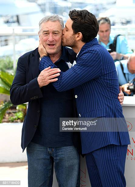 Robert De Niro and Edgar Ramirez attend the 'Hands Of Stone' photocall during the 69th annual Cannes Film Festival at the Palais des Festivals on May...